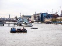 Landskap av Thames River i London, UK Royaltyfri Fotografi