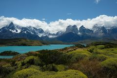Landskap av Torres del Paine, Patagonia, Chile arkivfoton