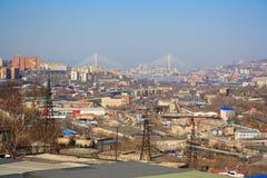 Landskap av Vladivostok Fotografering för Bildbyråer