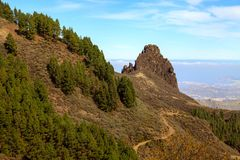 Landskap av vulkaniska berg på Gran Canaria Arkivbilder