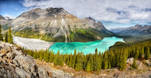 Landskap berg, Peyto sjö, panorama, Kanada arkivfoto