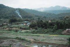 Landskap bilden av den lantliga byn och risfältet i grönskarainforest och kullebakgrund royaltyfria foton