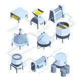 landskap 3d av bryggeriet Isometrisk bakgrund för vektor av växten för ölproduktion royaltyfri illustrationer