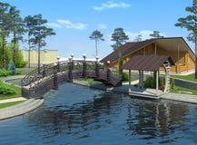 Landskap dammet och den förfalskade bron, tolkning 3D Royaltyfri Bild