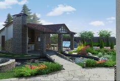 Landskap den dekorativa damm- och trädgårdpaviljongen, framför 3D Royaltyfria Foton
