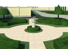 Landskap den klassiska stiltopiaryen, framför 3D Arkivfoto