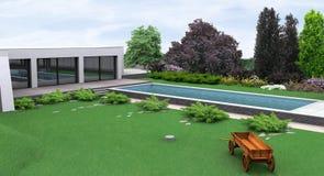 Landskap den lantliga stilträdgårdpoolsiden, framför 3D Royaltyfria Foton
