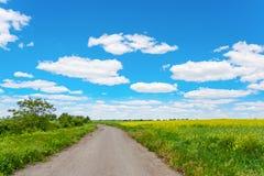 Landskap den lantliga vägen, fältet, blå himmel och moln Arkivfoton