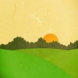 Landskap den pappers- snittsolnedgången för Rice stock illustrationer
