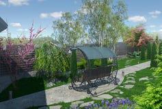 Landskap den trädgårds- gränden, framför 3d Royaltyfri Foto