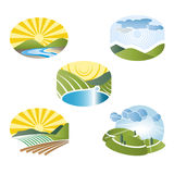 Landskap etiketten royaltyfri illustrationer