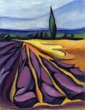 Landskap Fält av lavendel i Provence målning Royaltyfri Fotografi
