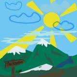 Landskap för bergvektorillustration stock illustrationer