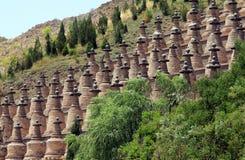 Landskap för 108 Dagobas Ningxia av Kina Arkivfoton