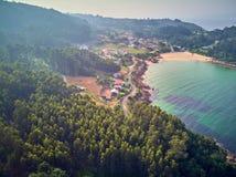 Landskap för flyg- sikt av den Chanteiro stranden i Galicia Spanien arkivbild