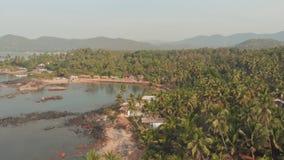 Landskap för flyg- sikt för skönhetPathem strand, Goa tillstånd i Indien arkivfilmer
