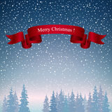Landskap för glad jul i mörker - blåa skuggor Royaltyfria Bilder
