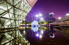 Landskap för Guangzhou operahusnatt Arkivfoto