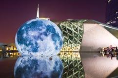 Landskap för Guangzhou operahusnatt Royaltyfri Fotografi