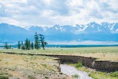 Landskap för himmel för flodbergträd Arkivfoto