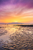 Landskap för himmel för solnedgånghavsstrand Härlig solljusreflexion Fotografering för Bildbyråer