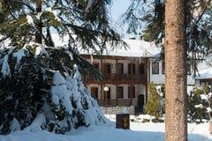Landskap för Klisura klostervinter, Bulgarien Arkivfoto