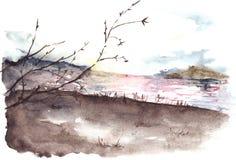 Landskap för kostnad för flod för träd för vattenfärgvårhöst Royaltyfri Bild