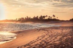 Landskap för livsstil för semester för strandsolnedgånglopp med för sandkustlinje för palmträd breda vågor med scenisk orange sol arkivbild