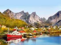 Landskap för Lofoten öar, Norge Arkivfoton