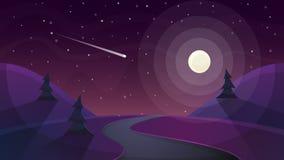 Landskap för loppnatttecknad film Gran komet, stjärna, måne, väg dåligt royaltyfri illustrationer