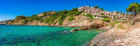Landskap för Majorca Spanien panoramaö av Costa de la Calma Arkivfoton