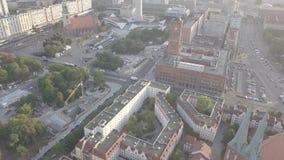 Landskap för morgonsiktsbyggnad stock video