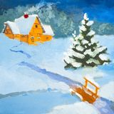Landskap för natt för oljamålning Landshus i vintern Vinterlandskap, snö, snödriva, staket Natt afton, koja Ett starkt vektor illustrationer