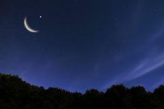 Landskap för natthimmel och måne, stjärnor, Ramadan Kareem beröm Arkivbild
