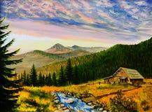 Landskap för olje- målning - solnedgång i bergen, byhus royaltyfri illustrationer