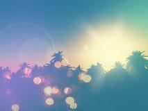landskap för palmträd 3D med retro effekt royaltyfri illustrationer