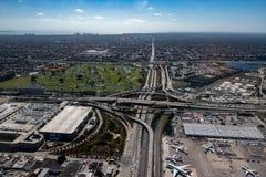 Landskap för panorama för flyg- sikt för Florida Miami flygplats Arkivfoton