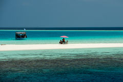 Landskap för paradis Maldiverna vitt för sandig strand tropiskt royaltyfria foton