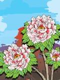 Landskap för pionbakgrundsmoln royaltyfri illustrationer