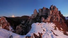 Landskap för Slovakien bergvinter Arkivbilder