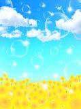 Landskap för solrosblommabakgrund royaltyfri illustrationer