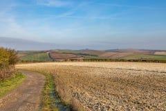Landskap för Sussex vinterlantgård arkivbild