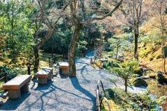 Landskap för Tenryuji tempelträdgård i Kyoto, Japan royaltyfria foton