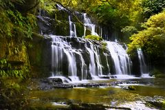 Landskap för vattenfallForest Moss landskap Royaltyfri Bild