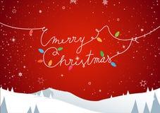 Landskap för vinterberglandskap, glad jul smsar Arkivbilder