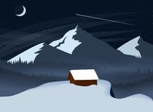 Landskap för vinternattberg med en skog och ett ensamt hus som står över en klippa Enkel plan vektorillustration vektor illustrationer