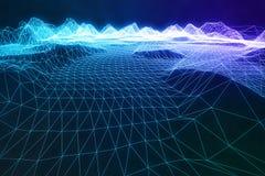 landskap för wireframe för abstrakt begrepp för illustration 3D digitalt Cyberspacelandskapraster teknologi 3d abstrakt internet Arkivbilder