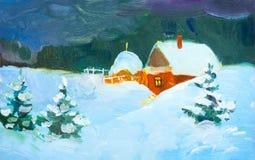 Landskap f?r natt f?r oljam?lning Landshus i vintern Vinterlandskap, sn?, sn?driva, staket Natt afton, koja Ett starkt vektor illustrationer
