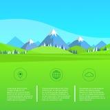 Landskap Forest Park Blue för grönt gräs för berg royaltyfri illustrationer