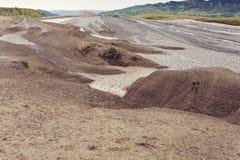 Landskap från gyttjavolcanoes i Buzau, Rumänien Royaltyfri Fotografi